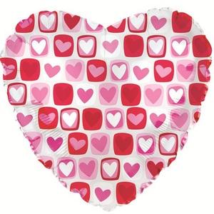 Фольгированное Сердце, Сердечки с квадратиками, Прозрачный (46 см)
