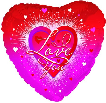 Фольгированное Сердце, Я люблю тебя (Фейерверк) (46 см)