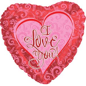 Фольгированное Сердце, Я люблю тебя (кружевное сердце), Красный (46 см)