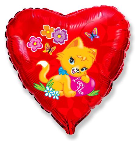 Фольгированное Сердце, Влюбленный котёнок, Красный (46 см)