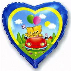Фольгированное Сердце, Влюбленные мишки в машине, Синий (46 см)