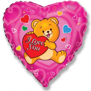 Фольгированное Сердце, Влюбленный счастливый медведь, Фуксия (46 см)