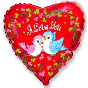 Фольгированное Сердце, Влюбленные птички, Красный (46 см)