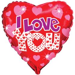 Фольгированное Сердце, Я люблю тебя (яркие сердечки), Красный (46 см)