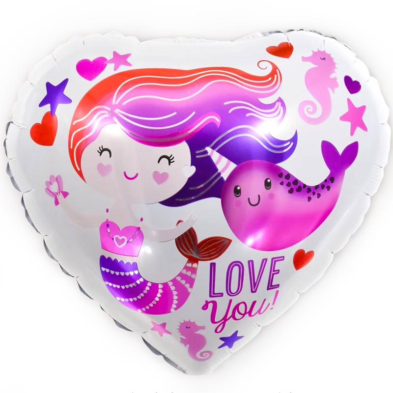 Фольгированное Сердце, Люблю тебя (Русалочка и нарвал), Белый (46 см)