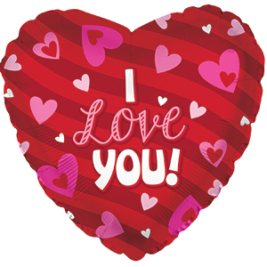 Фольгированное Сердце, Я люблю тебя (сердечки), Красный (46 см)