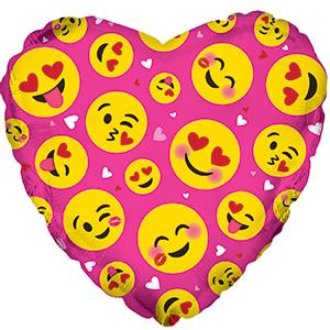Фольгированное Сердце, Влюбленные смайлы, Розовый (46 см)