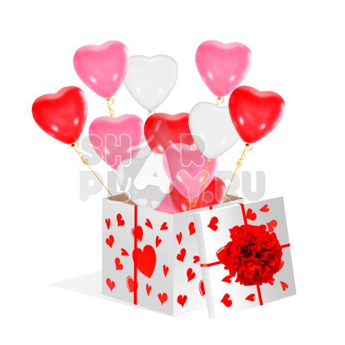 Шары в коробке, Сердца, Красный/Розовый/Белый (700х700х700)