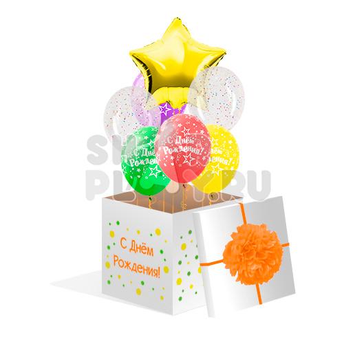 """Коробка с шарами, """"С Днём Рождения""""  (700х700х700)"""