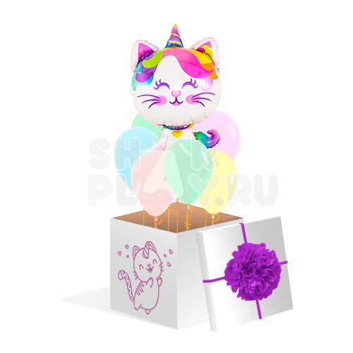 """Коробка с шарами, """"Кошка единорог"""", радужная  (700х700х700)"""