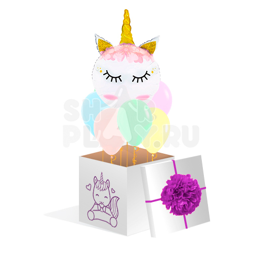 """Коробка с шарами, """"Нежный единорожка""""  (700х700х700)"""