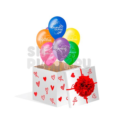 "Коробка с шарами, ""Комплименты для неё""  (700х700х700)"