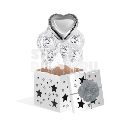 """Коробка с шарами, """"Серебренный комплимент""""  (700х700х700)"""