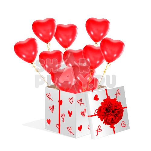 Шары в коробке, Сердца, Красный (700х700х700)