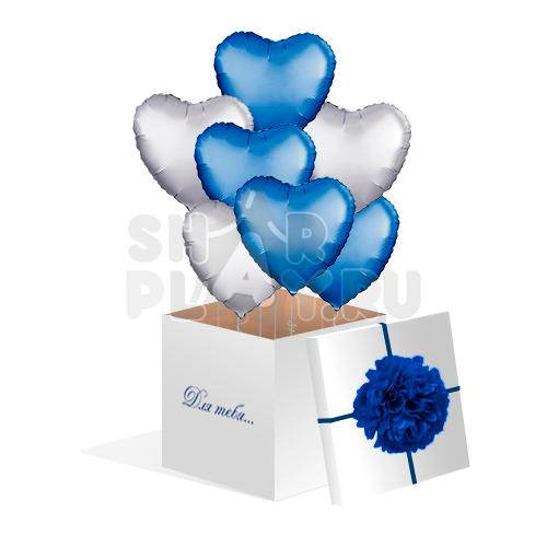 Шары в коробке, Фольгированные Сердца, Синий/Серебро (700х700х700)