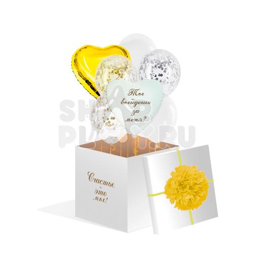 Шары в коробке, Предложение, Золото/Белый (700х700х700)