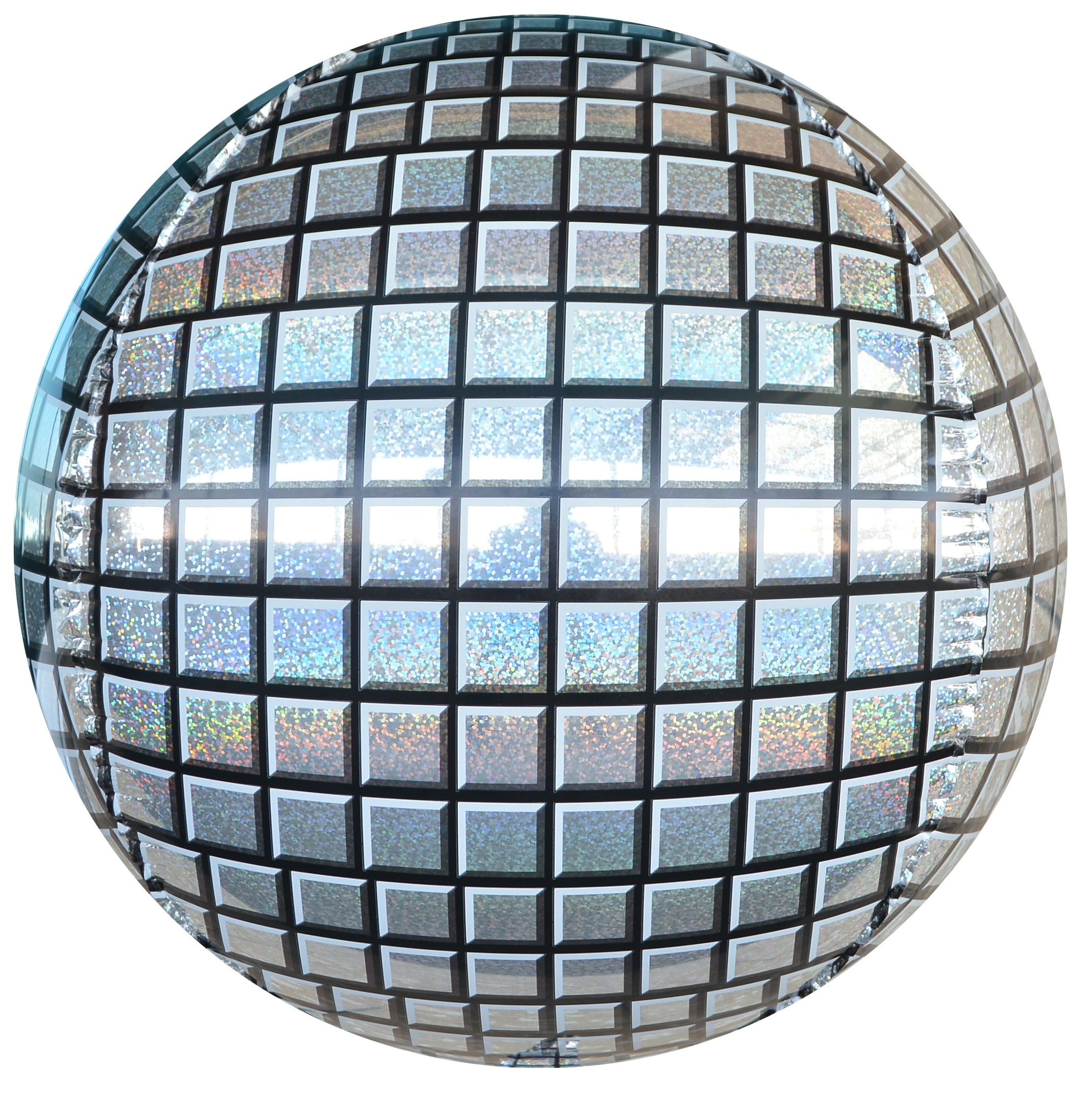 Фольгированная сфера 3D, Диско, Серебро, Голография (61 см)