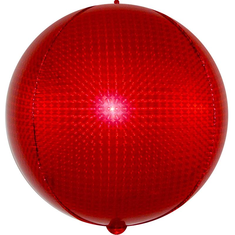 Фольгированная сфера 3D, Стерео, Красный, Голография (61 см)