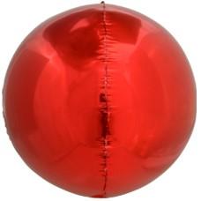 Фольгированная сфера 3D, Красный (61 см)
