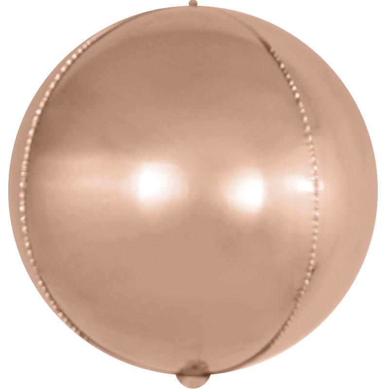 Фольгированная сфера 3D, Розовое Золото (61 см)
