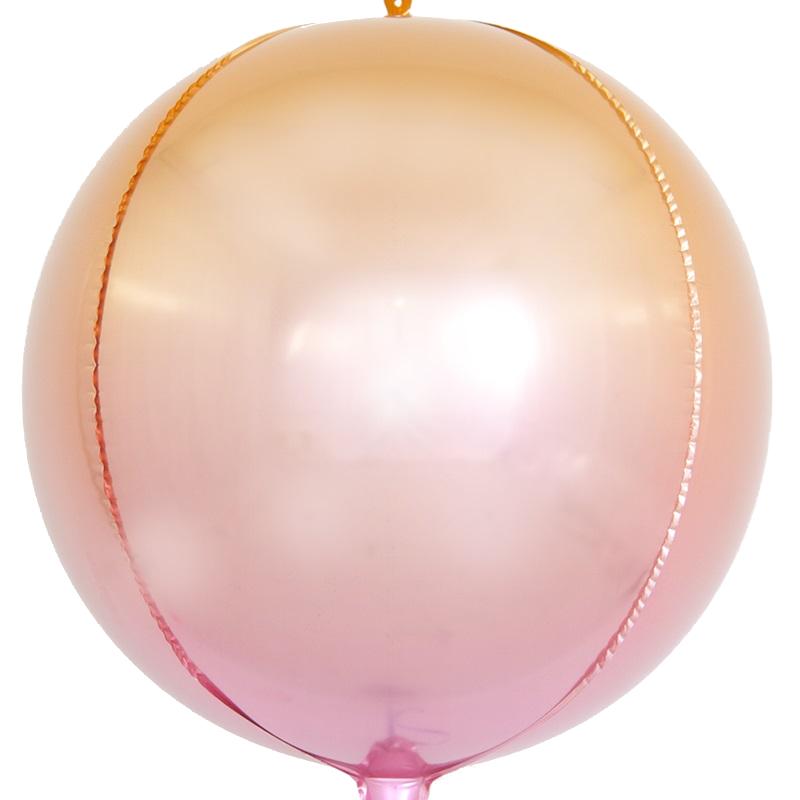 Фольгированная сфера 3D, Розовый, Градиент (61 см)