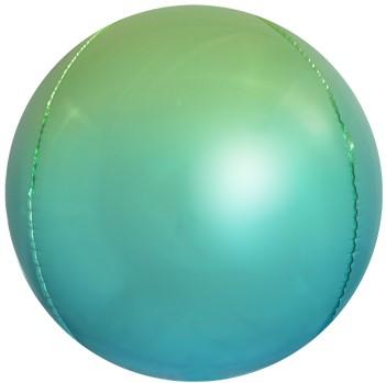 Фольгированная сфера 3D, Светло-зеленый/Голубой, Градиент (61 см)