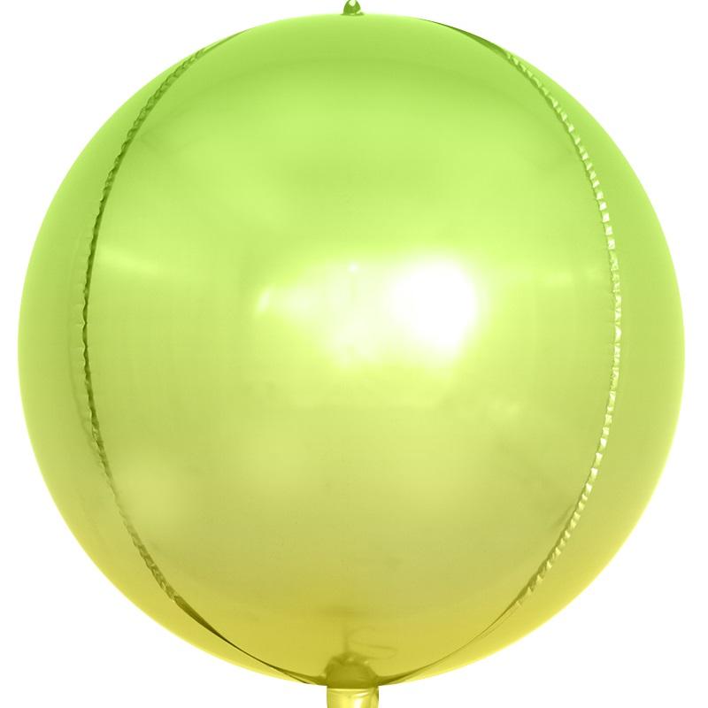 Фольгированная сфера 3D, Светло-зеленый, Градиент (61 см)