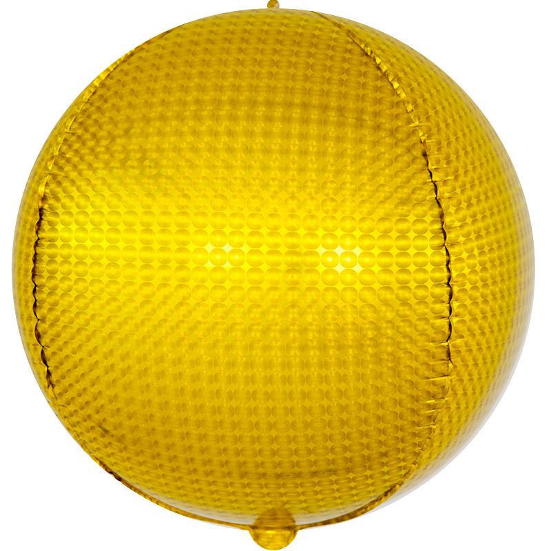 Фольгированная сфера 3D, Стерео, Золото, Голография (61 см)