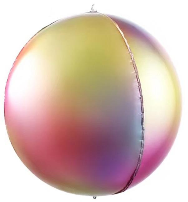 Фольгированная сфера 3D, Радужная феерия, Градиент (61 см)