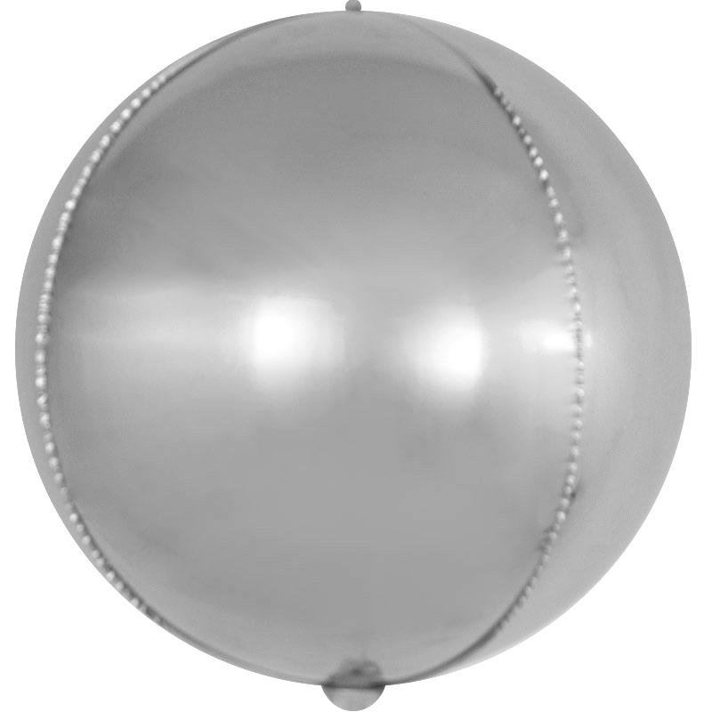 Фольгированная сфера 3D, Серебро (56 см)