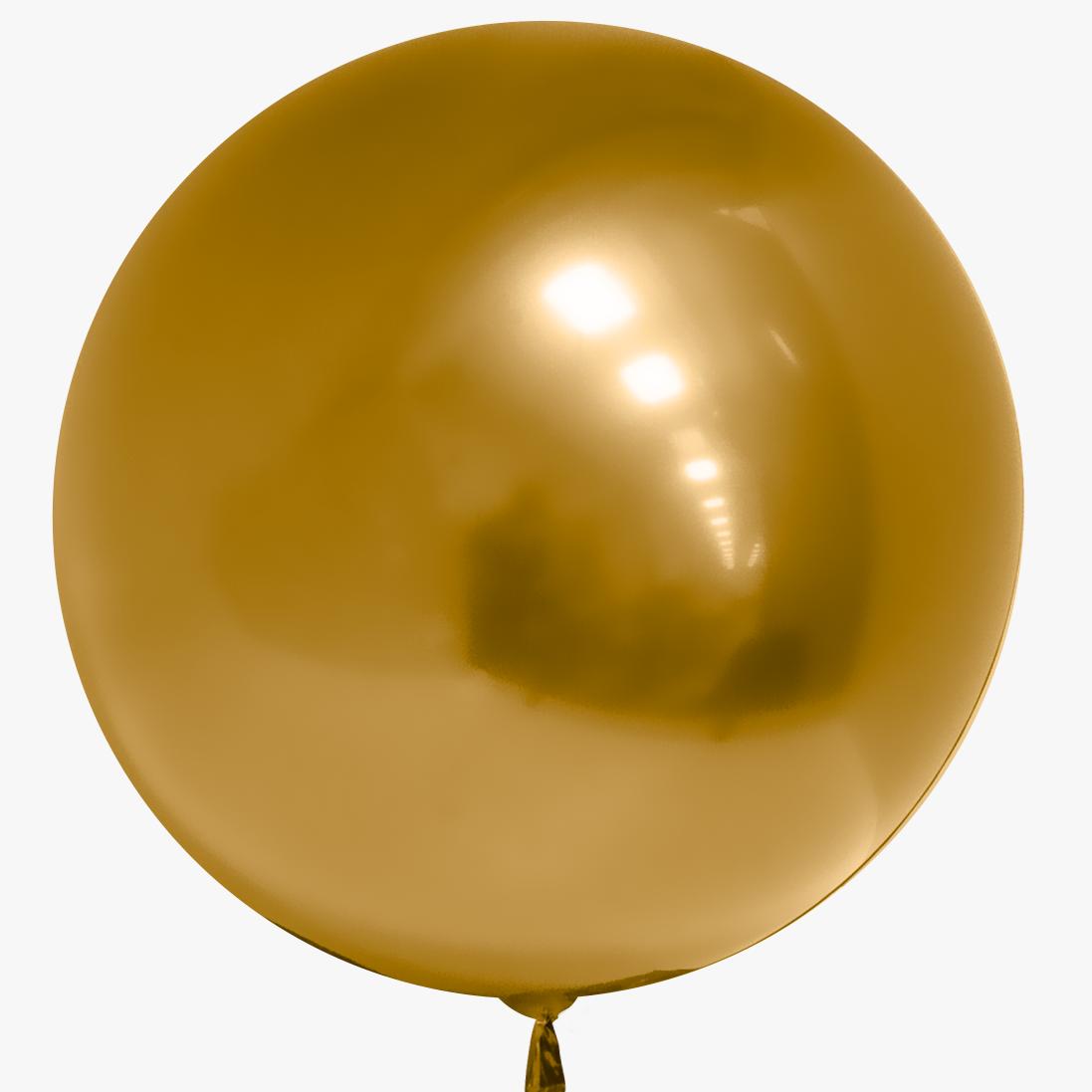 Фольгированная сфера хром, Золото (46 см)