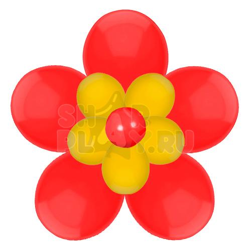Цветок с лепестками, красный с золотым (40 см)