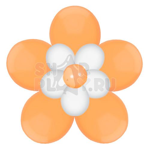 Цветок с лепестками, оранжевый с белым (40 см)