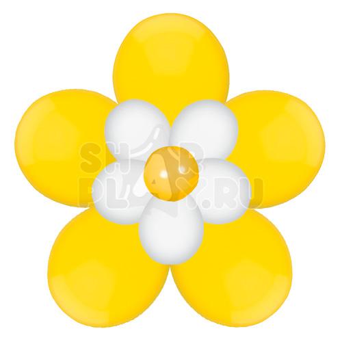 Цветок с лепестками, желтый с белым (40 см)