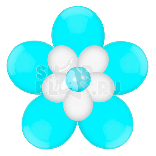 Цветок с лепестками, голубой с белым (40 см)