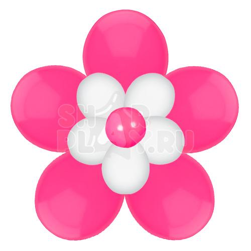 Цветок с лепестками, фуксия с белым (40 см)