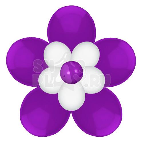 Цветок с лепестками, фиолетовый с белым (40 см)