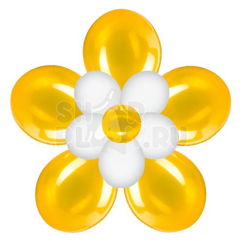 Цветок с лепестками, золотой с белым (40 см)