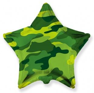 Фольгированная звезда, Военная, Хаки (46 см)