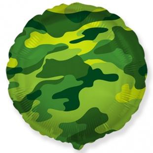 Фольгированный круг, Военный, Хаки (46 см)