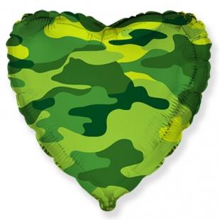 Фольгированное сердце, Военное, Хаки (46 см)