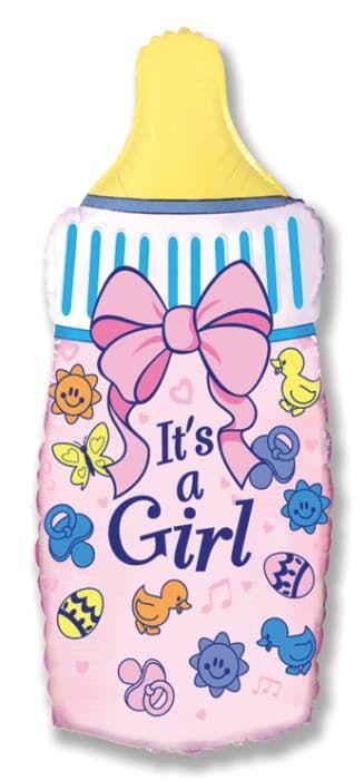 """Фольгированная фигура """"Бутылочка с бантиком"""" для девочки на выписку (79 см)"""