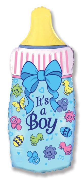 """Фольгированная фигура""""Бутылочка с бантиком"""" для мальчика на выписку (79 см)"""