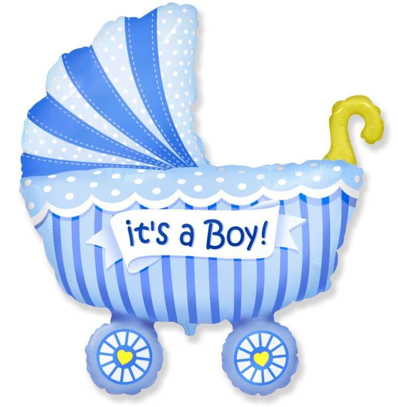 """Фольгированная фигура """"Коляска It""""s a boy"""" для мальчика на выписку (102 см)"""