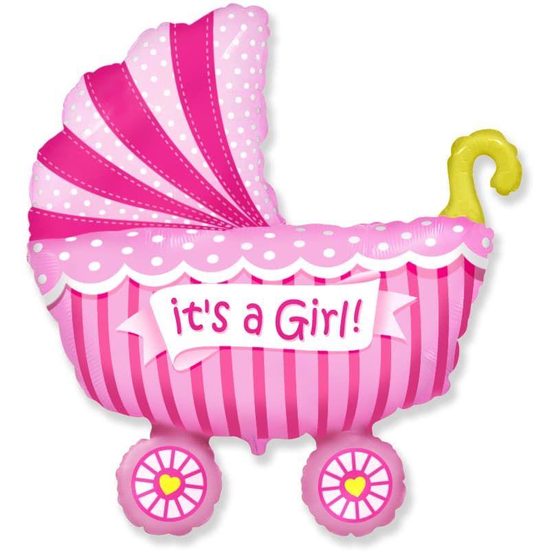 """Фольгированная фигура """"Коляска It""""s a girl"""" для девочки на выписку (102 см)"""