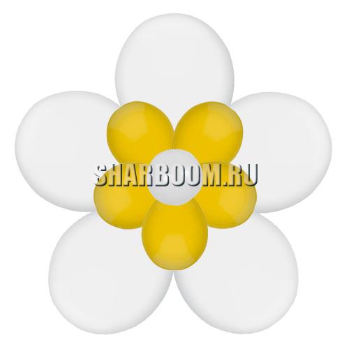 Цветок с лепестками, белый с золотым (40 см)