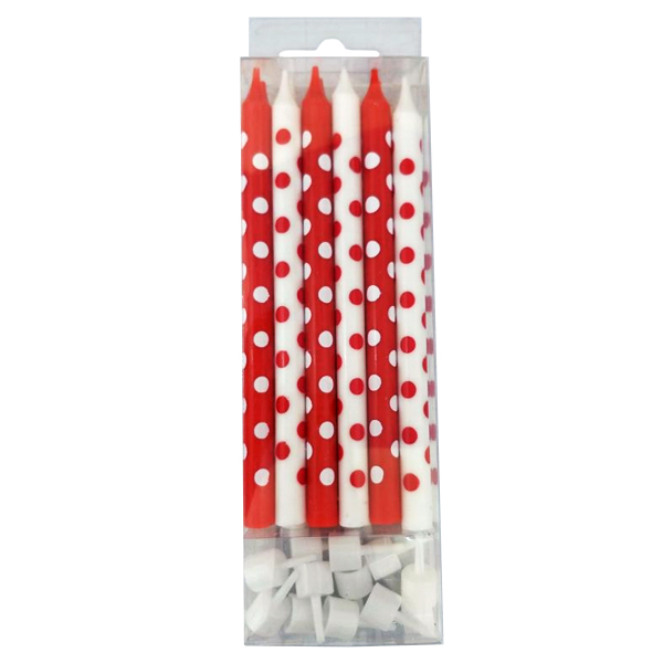 Свечки для торта, Красные и Белые в горошек 12 шт. (12 см)