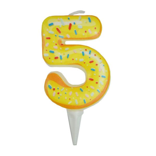 Свечка для торта цифра 5 пончик (6см)