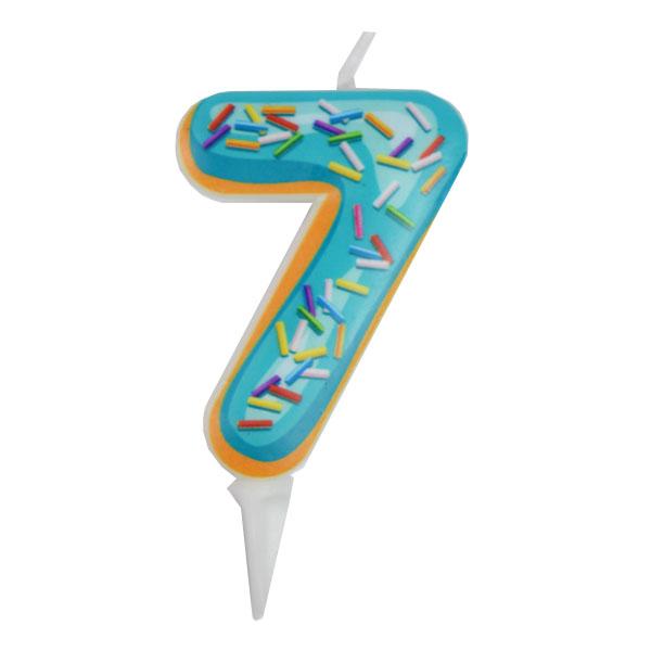 Свечка для торта цифра 7 пончик (6см)