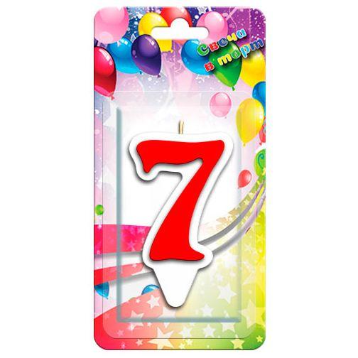 Свечка для торта цифра 7 красная (9 см)